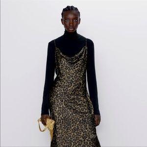 Zara Leopard Print Midi Slip Dress Size Medium